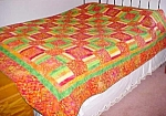 Click to view larger image of Tropical Quilt Queen Sz 84 x 86 Lime Orange Pink Yellow (Image1)