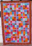 Click here to enlarge image and see more about item Quilt118: Quilt Crazy Patch Throw 50 x 71 inch Bright Colors