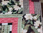 Click to view larger image of Quilt Queen Size 82 x 92 inch Magnolias Stripes (Image4)