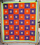 Click here to enlarge image and see more about item QUILT1407: Throw Quilt Orange Purple Mexican Hats Maracas 67 x 76