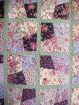 Click here to enlarge image and see more about item QUILT152: Quilt Throw 55 x 71 Sweet November Crazy Four Patch
