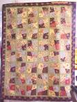 Click to view larger image of Quilt Throw 55 x 71 Sweet November Crazy Four Patch (Image7)