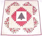 Click here to enlarge image and see more about item QUILT906A: Quilt Wall Hanging Christmas Tree Holly Poinsettias