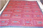 Click here to enlarge image and see more about item QUILT924A: Lap Quilt Red & Blue Vintage Log Cabin Country
