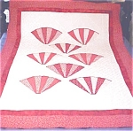 Click here to enlarge image and see more about item QUILT958A: Throw Lap Quilt Wall Hanging Red White Grandmas Fans