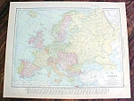 Antique Map British Isles Europe 1912