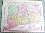 Antique Map Connecticut 1916 Rand McNally Nice Colors