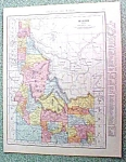 Antique Map Idaho 1916 Rand McNally Nice Colors