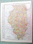 Click here to enlarge image and see more about item R191619: Antique Map Illinois 1916 Rand McNally Nice Colors