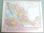 Antique Map Mexico 1916 Rand McNally