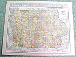 Antique Map Iowa 1916 Rand McNally Nice Colors