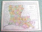 Antique Map Louisiana 1916 Rand McNally Nice Colors