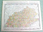 Antique Map Kentucky Tennessee 1916 Rand McNally