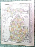 Antique Map Michigan 1916 Rand McNally Nice Colors
