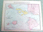 Antique Map Hawaii Cuba 1916 Rand McNally