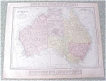 Map Australia New Zealand 1912 Antique