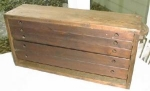 Primitive 5 Draw Pine Tool Chest w/Oak Drawers