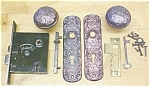 Click here to enlarge image and see more about item T16193: B.L.W. Antique Ornate Cast Door Knob/Plate Set
