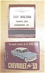 Click here to enlarge image and see more about item T9154: 1953 Chevrolet Match Book Pair