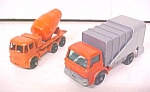 Click here to enlarge image and see more about item Toy467: Matchbox No. 7 & 26 Refuse Truck & Cement Mixer