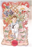 Click here to enlarge image and see more about item VAL0146: Valentines Card Germany Boy in Sailor Suit Fold Out