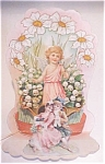 Click here to enlarge image and see more about item VAL0150: Valentines Card Cherub Floral Fold Out Antique