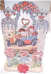 Click here to enlarge image and see more about item VAL0176: Valentines Card Germany Large Size Flowers Fold Out