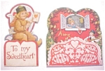 Click here to enlarge image and see more about item VAL0187: Honeycomb Valentines Vintage 2PC 1920's