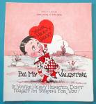 Heavy Heart Valentines Card 1930's Boy Holding Heart