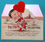Click to view larger image of Heavy Heart Valentines Card 1930's Boy Holding Heart (Image2)