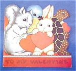 Click here to enlarge image and see more about item VAL029: Valentine Book Card Childs Animals Colorful