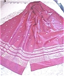 Vintage Sari Rose Silk Ornate Silver Designs