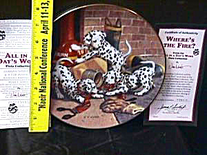 All in a Day's Work WHERE'S THE FIRE? Jim Lamb Dalmation puppies Fireman Firemen (Image1)