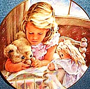 1986 OUR FATHER #1 The LORD'S PRAYER WILLIAMS Girl Pray In Bed Teddy Bear Dolly Roman (Image1)