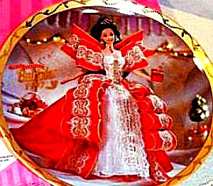 1997 Happy Holidays Barbie Enesco Mattel LE Plate #274259 Brunette Annual Doll Box (Image1)