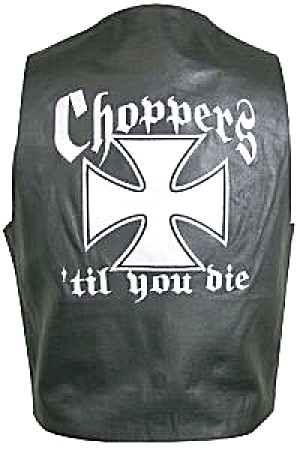 Choppers 'till You Die Large Black Mens Leather Embroidered Iron Cross Vest Pocket 44