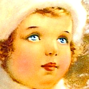 Snow Bird BESSIE PEASE GUTMANN Victoriana China Winter Girl Annual Christmas Cutmann (Image1)