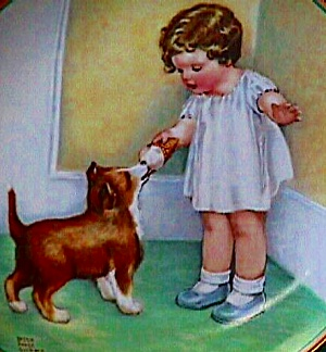 Childs Best Friend #2 THE REWARD Bessie P. Gutmann Nostalgic Baby Bottle Dog Cutmann (Image1)