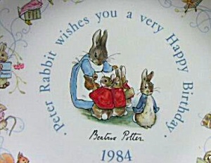 '84 BEATRIX POTTER PETER RABBIT BIRTHDAY Plate 1984 Nurseryware Nursery Ware Wedgwood (Image1)