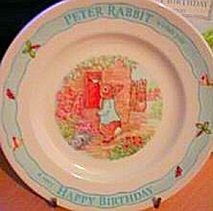 Beatrix Potter Nursery Ware Peter Rabbit Birthday Plate Undated 7 Inch Bunny Mail Let