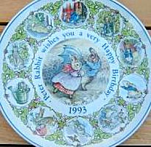 Peter Rabbit 1993 Happy Birthday Wedgwood Wedgewood #89852 Potter Umbrella Windy Day
