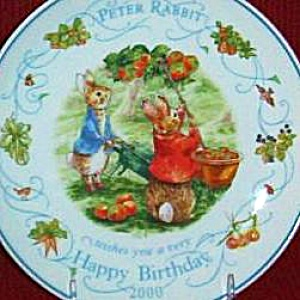 '00 Beatrix Potter Peter Rabbit Birthday Plate 2000 Nurseryware Nursery Ware Wedgwood