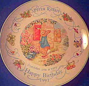 '97 Beatrix Potter Peter Rabbit Birthday Plate 1997 Nurseryware Nursery Ware Wedgwood