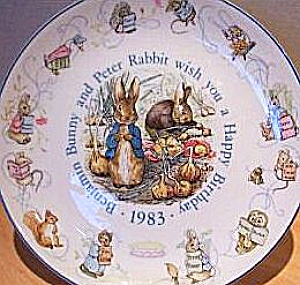 '83 Beatrix Potter Peter Rabbit Birthday Plate 1983 Nurseryware Nursery Ware Wedgwood