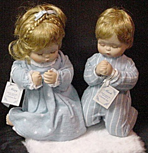 Mark & Mary Byj Praying Boy & Girl Dolls C Charlotte Brother Sister 1996 Nrfb Mib