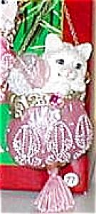 Pretty Kitty Carlton 2002 CXOR-92G #77 #2 White Pink Beaded Purse Tassel Handkerchief (Image1)