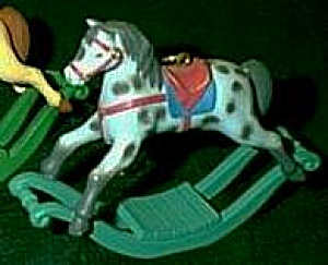AMERICAN GREETINGS  CHRISTMAS IN TOY LAND ROCKING HORSE #BX-1041 Dapple Blue Grey AG (Image1)