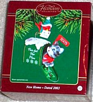 #11 Dated PURR-FECT NEW HOME Grey Gray Cat Kitty mailbox little bird 2003 CXOR-012J (Image1)