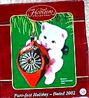 2002 Dated PURR-FECT Holiday Flocked White Cat Kitten CXOR-111G Purrfect Holidays '02 (Image1)