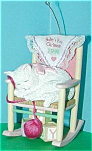 Baby Girl's First Christmas 1998 Carlton Adorable White Cat Kitten Rocking Chair MIB (Image1)